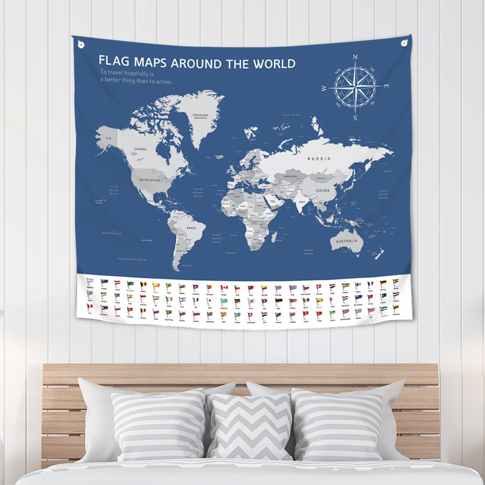 [패브릭포스터] 세계지도세계국기 150x130cm
