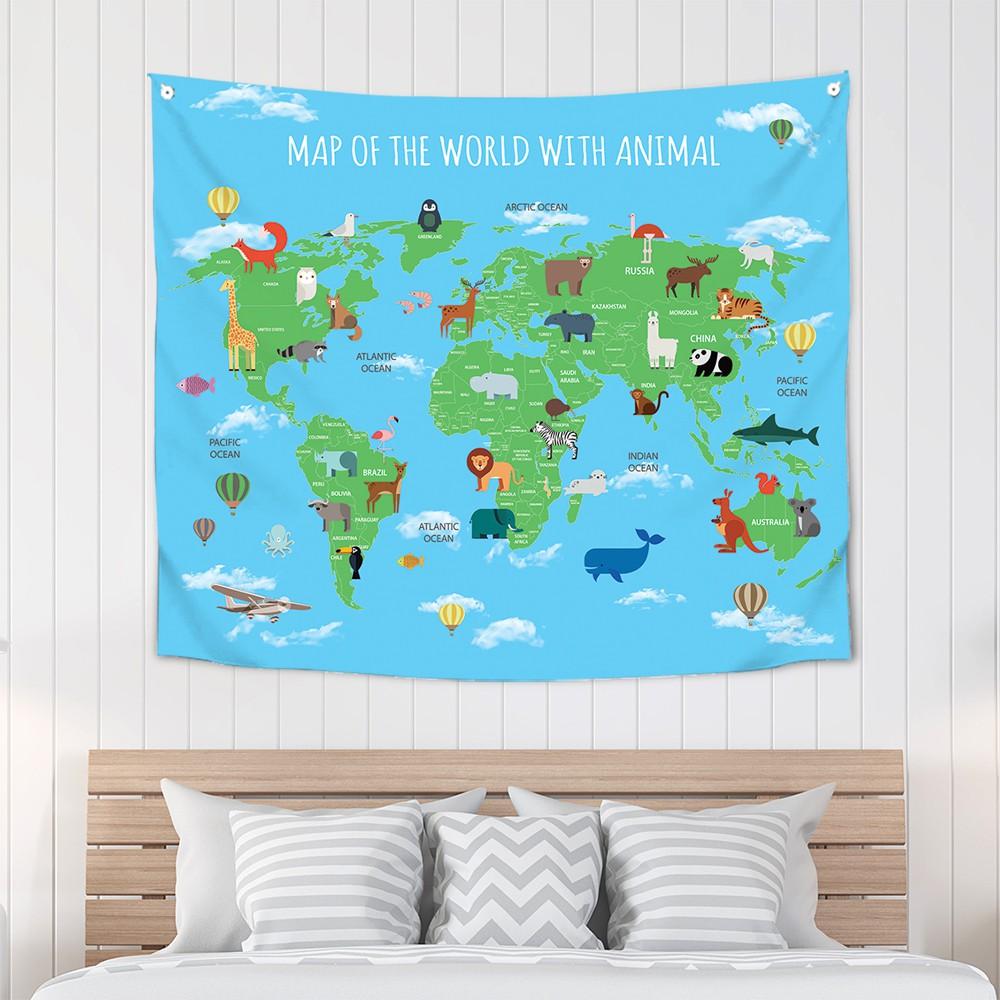 [패브릭포스터]세계지도스카이애니멀 150x130cm