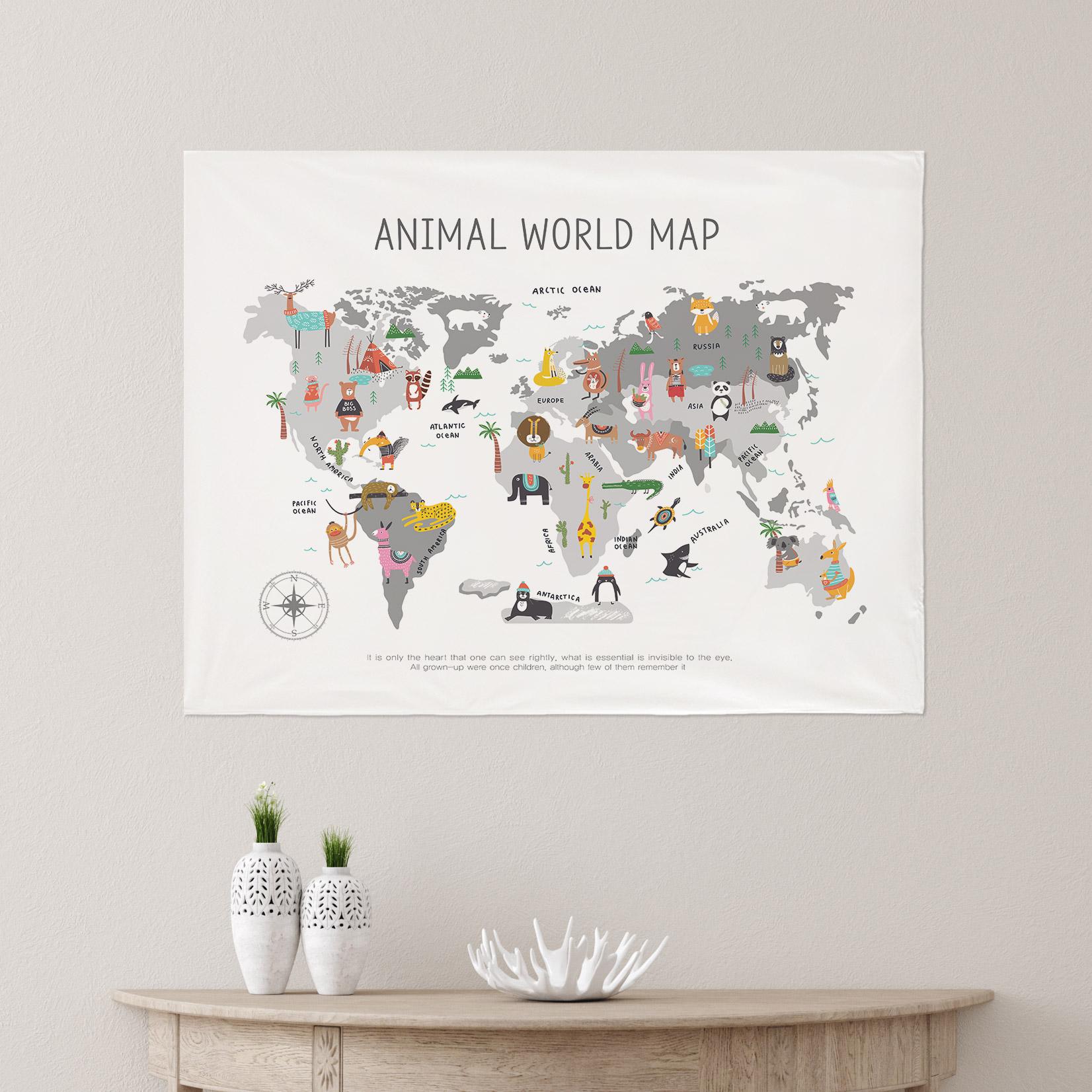 [패브릭포스터] 세계지도 애니멀 90x73cm