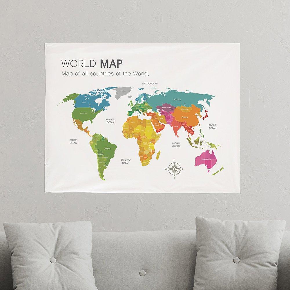 [패브릭포스터] 세계지도 컬러맵 90x73cm